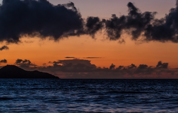 Картинка море, облака, закат, гора