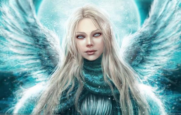 Картинка зима, взгляд, девушка, крылья, ангел