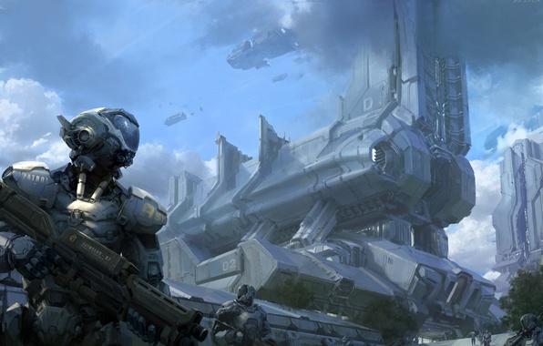 Картинка облака, металл, оружие, корабли, роботы, арт, патруль