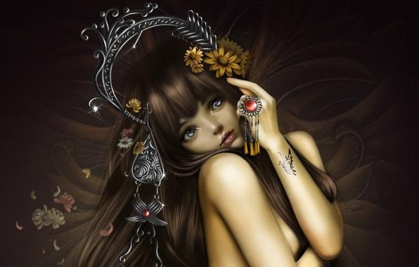 Картинка девушка, украшения, цветы, бабочка, тату, арт, nana hang