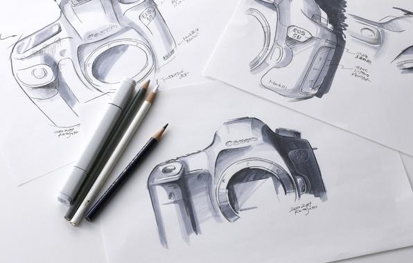 Картинка рисунок, карандаши, набросок, фотоаппарат, Canon, EOS, mk3, mkIII