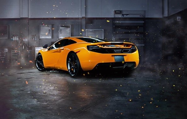 Картинка McLaren, Orange, MP4-12C, Supercar, Garage, Rear, Sparks