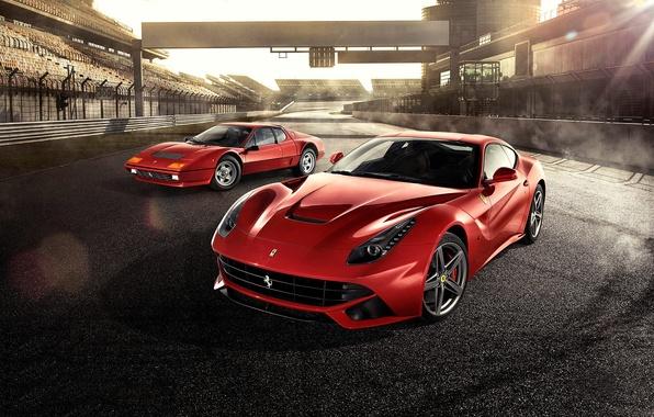 Картинка Ferrari, Red, Front, Sun, Supercars, Berlinetta, F12, Track, Days, Beam, 512BB