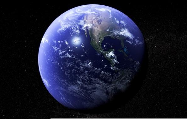 Картинка космос, звезды, поверхность, планета, Земля, материки, океаны