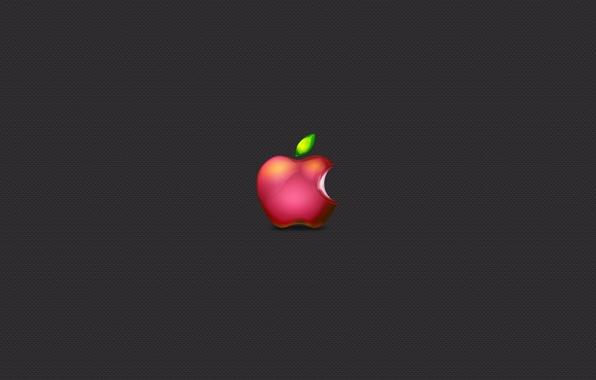 Картинка серый, apple, минимализм, Яблоко