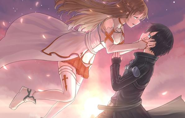 Картинка небо, девушка, облака, закат, аниме, лепестки, падение, арт, парень, двое, sword art online, yuuki asuna, …