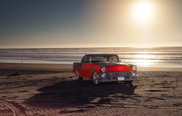Картинка Chevrolet, Red, Car, Front, Bel Air, Sun, Water, Old, Summer, Sea, 1956