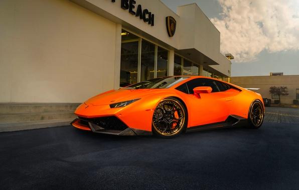 Картинка Lamborghini, Orange, Front, Color, Supercar, Wheels, ADV.1, Huracan, LP610-4