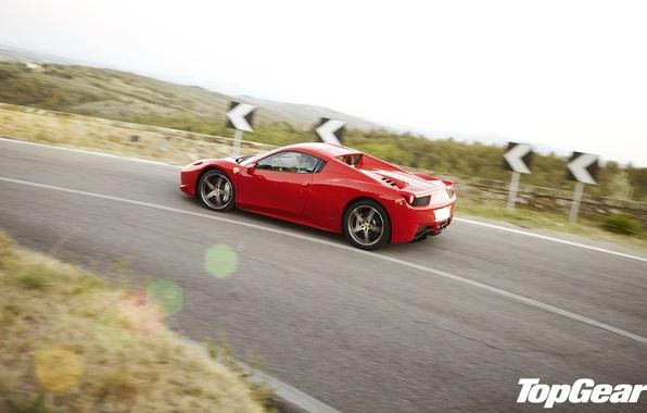 Картинка дорога, красный, вид, поворот, Ferrari, суперкар, феррари, 458, сбоку, top gear, италия, спайдер, самая лучшая …