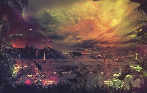 Картинка вода, облака, птицы, отражение, пальмы, луна, искры, desktopography, лианы