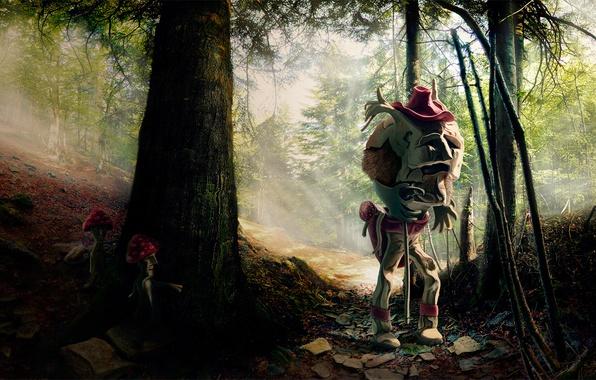 Картинка лес, грибы, монстр