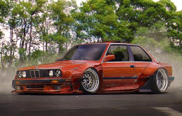 Картинка BMW, Red, Tuning, Future, E30, Stance, by Khyzyl Saleem