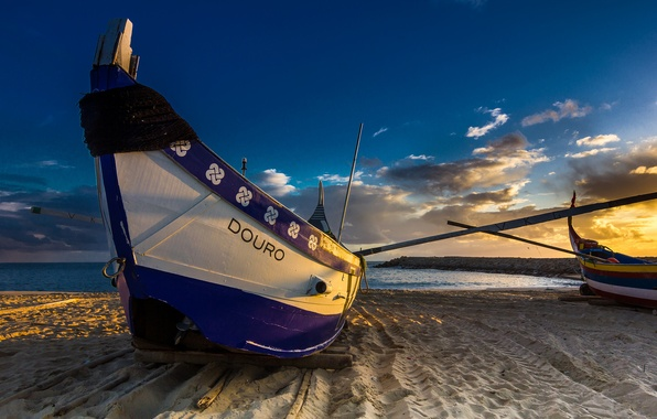 Картинка beach, sea, coast, sunset, boat