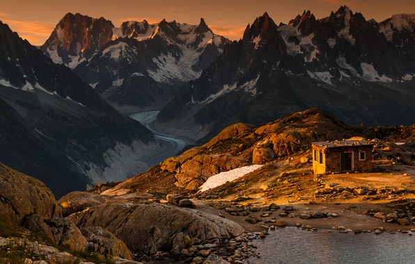 Картинка горы, скалы, Альпы, хижина