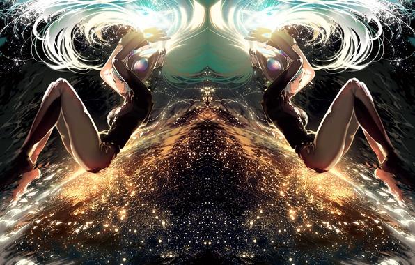 Картинка небо, девушка, огни, аниме, арт, league of legends, sona, ajahweea