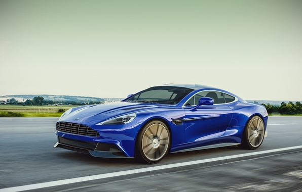 Картинка Aston Martin, Blue, Speed, Road, 2013, Vanquish, Sport Car, by Laffonte