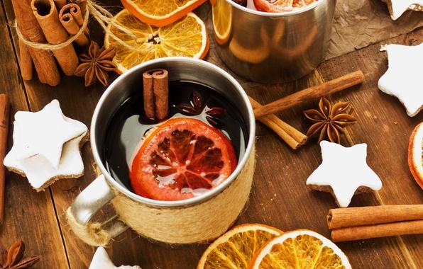 Картинка зима, вино, апельсины, палочки, Новый Год, печенье, Рождество, чашка, звёздочки, напиток, корица, праздники, пряности, бадьян, …