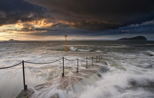 Картинка волны, небо, облака, закат, тучи, океан, знак, берег, гора, Море, вечер, ограждение, пирс, прибой, залив, …