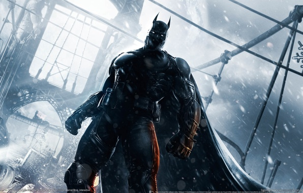 Картинка мост, город, здания, маска, костюм, Бэтмен, супергерой, game wallpapers, Batman: Arkham Origins