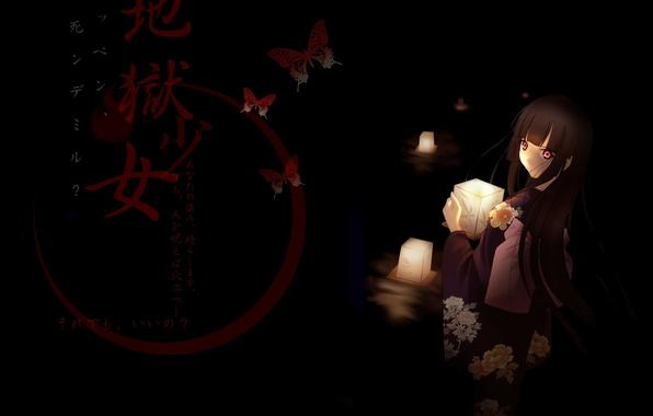 Картинка девушка, бабочки, свечи, иероглифы, кимоно