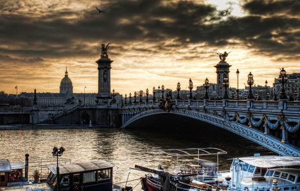 Картинка река, париж, архитектура, франция, сена, ponte d'alexandre, мост александра 3