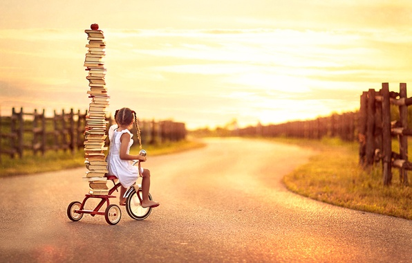 Фото обои девочка, велосипед, книги, Back To School