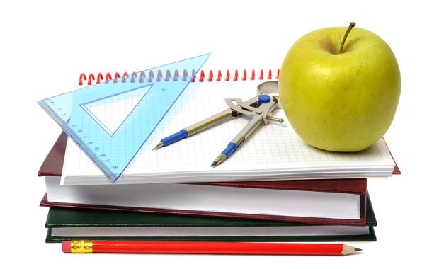 Картинка книги, яблоко, белый фон, карандаш, тетрадь, линейка, циркуль, принадлежности, школьные