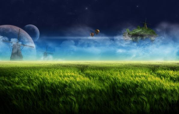 Картинка небо, облака, ночь, воздушные шары, фантазия, dream, планеты, мельница, fantasy, травы, sky, landscape, night, луга, …