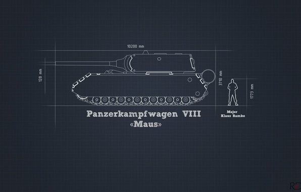 Картинка информация, минимализм, танк, проект, тяжелый, немецкий, Maus