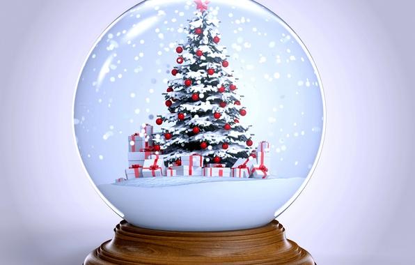 Картинка снег, елка, шар, Новый Год, Рождество, winter, snow, New Year, globe, Cristmas