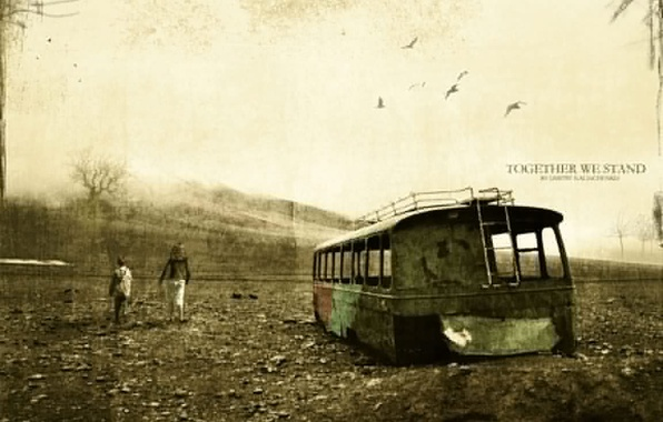 Картинка старость, ржавый автобус, together we stand, сила духа, потертость