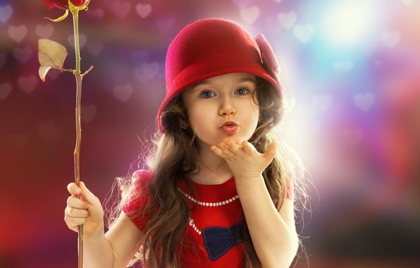 Картинка цветок, настроение, роза, девочка, ребёнок, боке, воздушный поцелуй