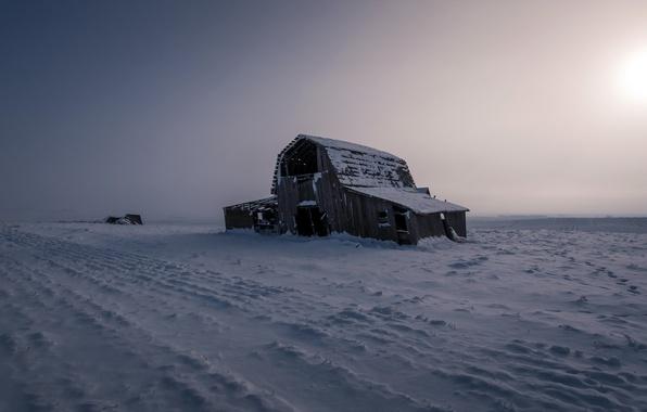 Картинка поле, снег, пейзаж, ночь, природа, дом