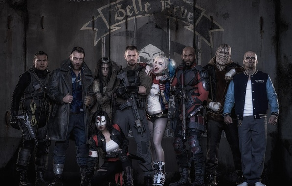 Картинка Harley, Bad, Men, Girls, Wallpaper, Guns, Will Smith, Women, Team, Year, Weapons, DC Comics, Movie, …
