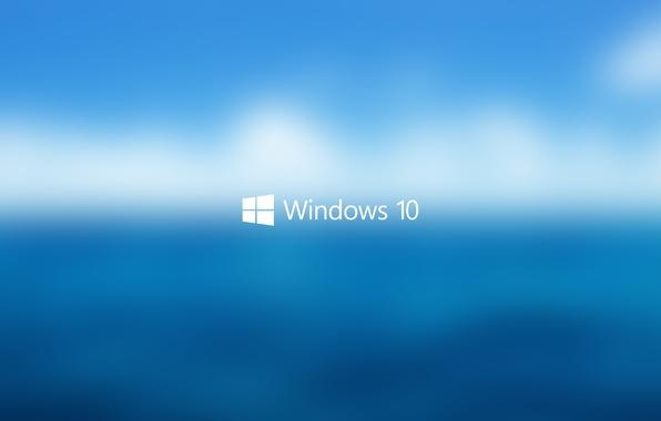Фото обои Фон, голубое, Логотип, белый, Пуск, блюр, Hi-Tech, вода, Макро, синее, небо, Windows