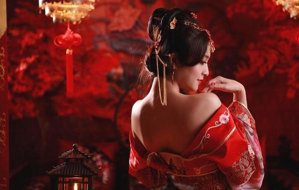 Картинка девушка, настроение, спина, прическа, азиатка, китайский, национальный, этно
