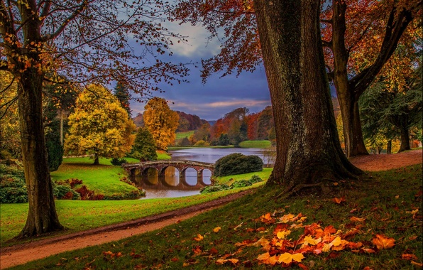 Картинка осень, лес, небо, листья, вода, деревья, природа, парк, река, вид, hdr, прогулка, forest, аллея, river, …