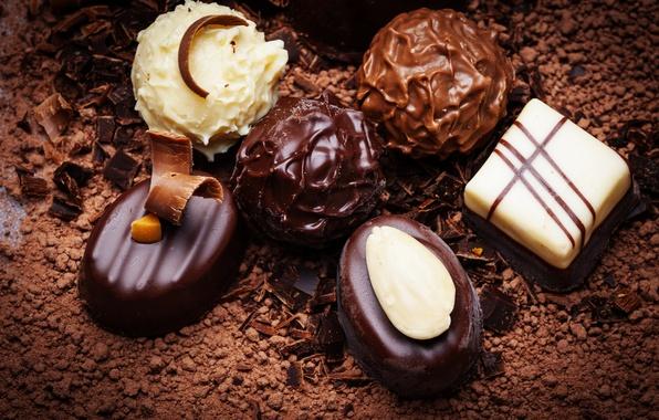 Картинка еда, шоколад, конфеты, сладости, десерт, сладкое, какао
