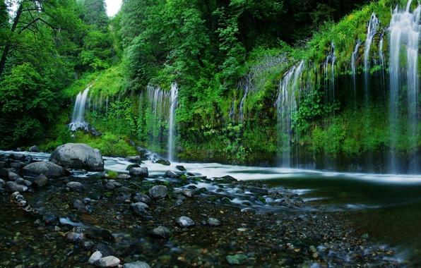 Картинка вода, камни, водопад, USA, США, nature, калифорния, California, деревья., falls, waterfals, Mossbrae