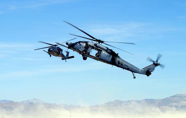 Картинка горы, пустыня, вертолет, пулемет, спасатели, лопасти, МН-60К, черный ястреб