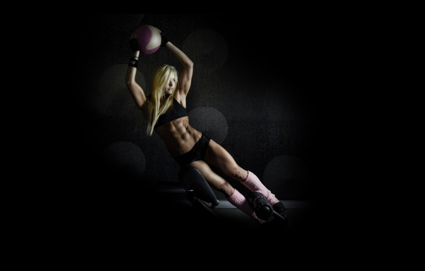 Картинка exercise, blonde, pose, fitness, abs, training ball
