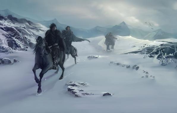 Картинка зима, снег, горы, птицы, люди, кони, лошади, арт, A Song of Ice and Fire, Песнь ...