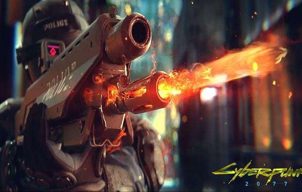 Картинка оружие, огонь, игра, полиция, шлем, киберпанк, police, стреляет, Cyberpunk 2077