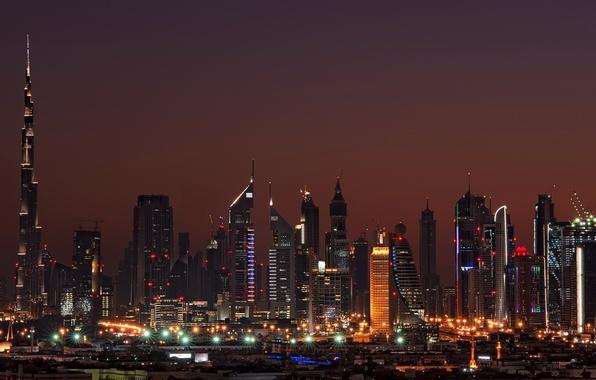 Картинка ночь, дома, Дубай, Dubai, night, Emirates, высотки., cities, Arab, Арабские. Емираты