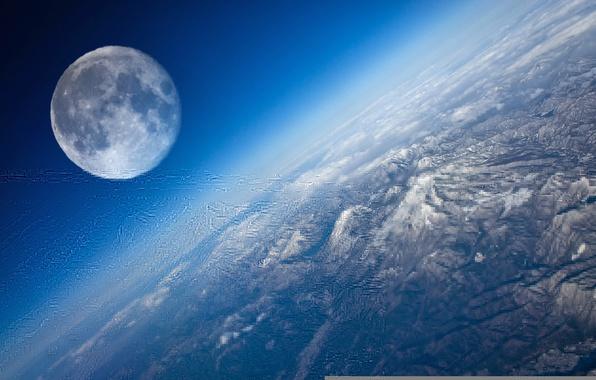 Картинка space, moon, planet earth, satellite