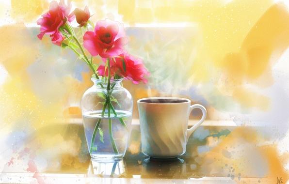 Картинка цветы, кофе, розы, чашка, ваза, живопись