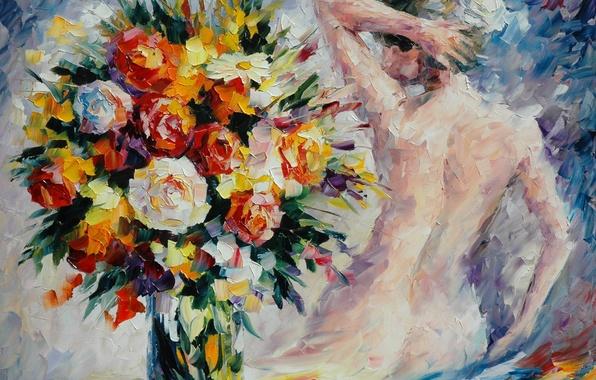 Картинка девушка, цветы, спина, букет, руки, ваза, живопись, Leonid Afremov