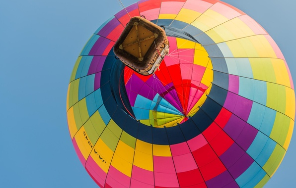 Картинка небо, полет, воздушный шар, корзина, спорт