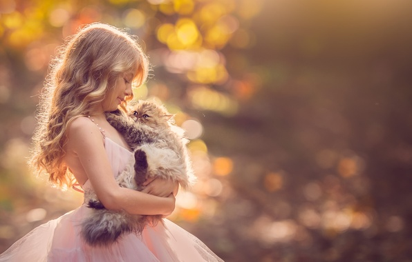 Картинка фон, платье, девочка, котёнок, друзья