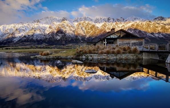 Картинка горы, отражение, Новая Зеландия, New Zealand, Queenstown, Lake Wakatipu, Куинстаун, озеро Уакатипу
